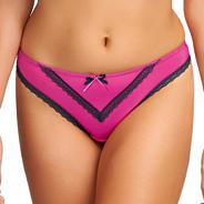 Dark pink 'Deco Charm' lace thong