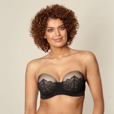 Black lace D-G strapless bra
