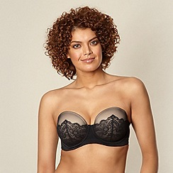 Gorgeous DD+ - Black lace D-G strapless bra