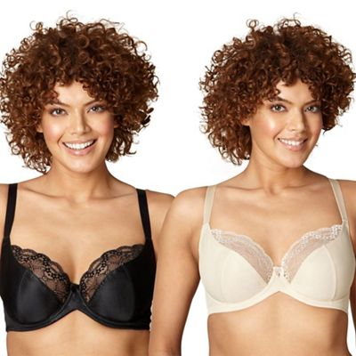 Pack of two black lace D-H t-shirt bras