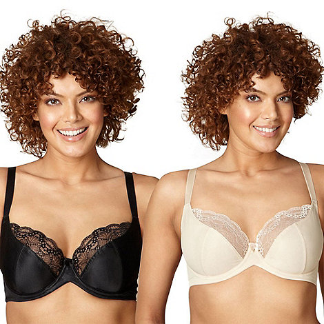 Gorgeous DD+ - Pack of two black and nude lace D-H t-shirt bras