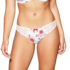 Gorgeous DD+ - Pink floral print satin lace 'Ariana' Brazilian knickers