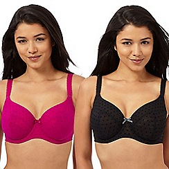 Gorgeous DD+ - Pack of two dark pink flock spot D-H t-shirt bras