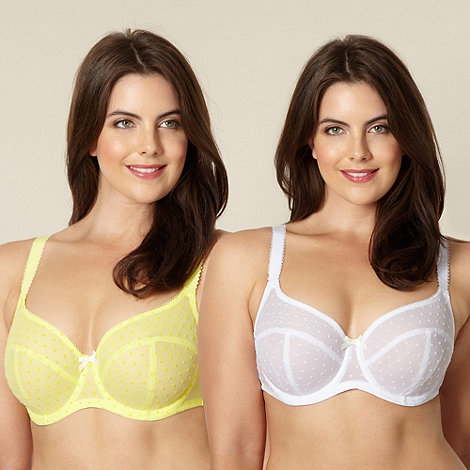 Gorgeous DD+ - Online exclusive pack of two yellow and white flocked spot t-shirt bras