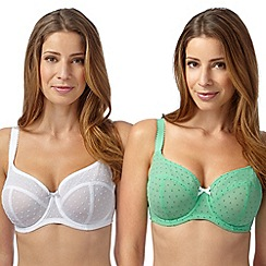 Gorgeous DD+ - Pack of two white and light green spotted non padded D-G cup t-shirt bras