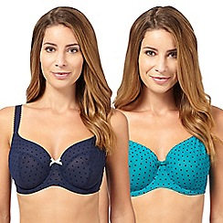 Gorgeous DD+ - Pack of two turquoise and navy polka dot D-H cup t-shirt bras