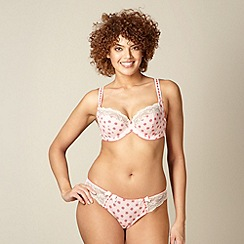 Gorgeous DD+ - Peach spotted lace trim DD-H balcony bra