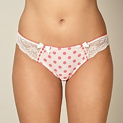Gorgeous DD+ - Peach spotted lace side brazilian briefs