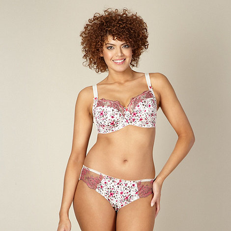 Gorgeous DD+ - Ivory floral lace DD-J full cup bra