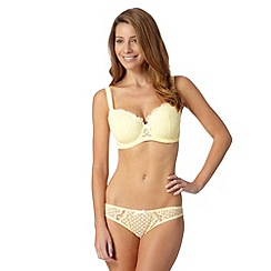Gorgeous DD+ - Light yellow spotted DD-G cup balcony bra