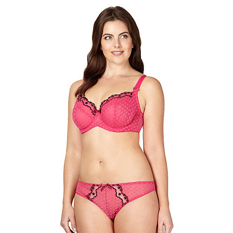 Gorgeous DD+ - Pink spotted mesh non padded balcony bra