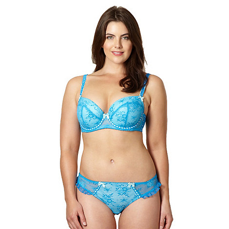 Gorgeous DD+ - Blue mesh lace padded balcony bra
