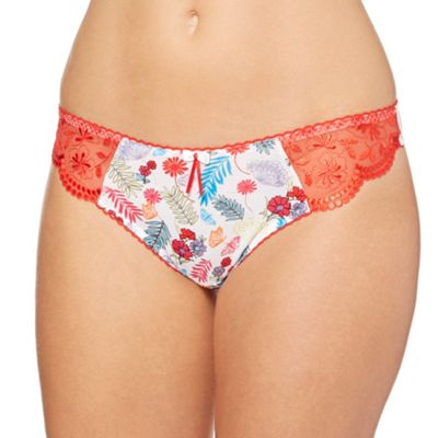 Red floral microfibre thong
