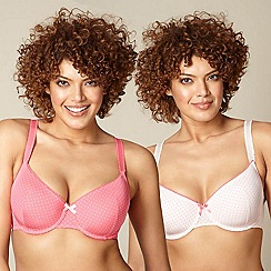 Gorgeous DD+ - Pack of two pink spotted D-G t-shirt bras
