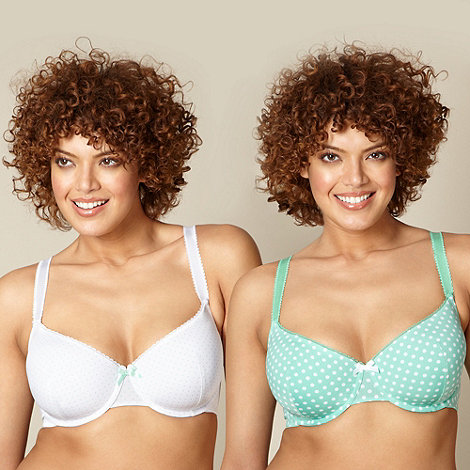 Gorgeous DD+ - Online exclusive pack of two pale green spotted d-g t-shirt bras