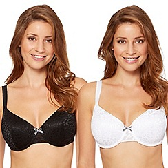 Gorgeous DD+ - Pack of two black and white burnout animal t-shirt bras