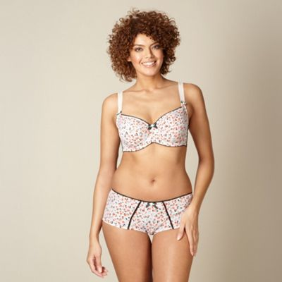 Light pink floral non padded DD-J cup balcony bra