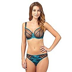 Gorgeous DD+ - Aqua mesh overlay DD-H cup plunge bra