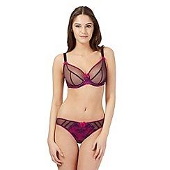 Gorgeous DD+ - Pink mesh overlay DD-G cup plunge bra