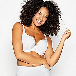 Gorgeous DD+ - White underwired padded plunge bra