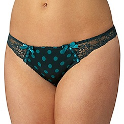 Gorgeous DD+ - Dark green satin spot lace brazilian briefs