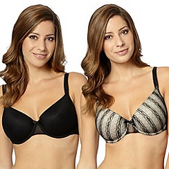 Gorgeous DD+ - Pack of two black lace D-G t-shirt bras