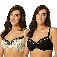 Gorgeous DD+ - Pack of two black flock spot D-G balcony bra