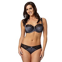 Gorgeous DD+ - Dark grey floral DD-J non padded full cup bra