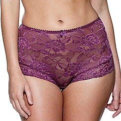Charnos - Plum 'Rosalind' full lace briefs