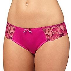 Gorgeous DD+ - Pink embroidered trim bikini briefs