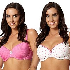 Gorgeous DD+ - Pack of two pink patterned D-G t-shirt bras