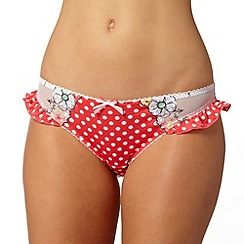 Gorgeous DD+ - Dark pink floral polka dot bikini briefs