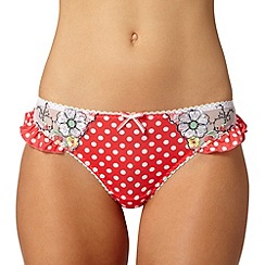 Gorgeous DD+ - Dark pink floral polka dot thong