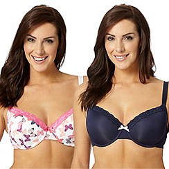 Gorgeous DD+ - Pack of two navy butterfly printed D-G t-shirt bras