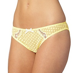 Gorgeous DD+ - Light yellow spotted mesh bikini briefs