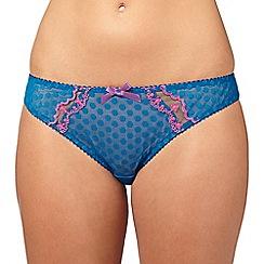 Gorgeous DD+ - Blue polka dot mesh bikini briefs
