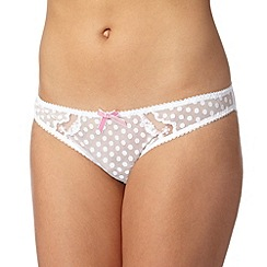 Gorgeous DD+ - White spotted mesh bikini briefs