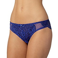 Gorgeous DD+ - Bright blue spotted and lace brazilian briefs
