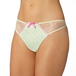 Gorgeous DD+ - Light green polka dot lace brief