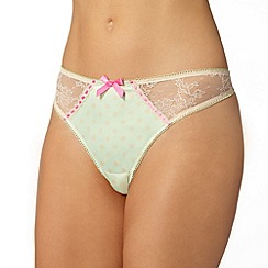 Gorgeous DD+ - Light green polka dot lace thong