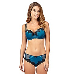 Gorgeous DD+ - Turquoise satin lace trimmed DD-H cup bra