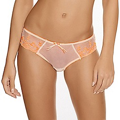 Freya - Neon peach 'Siren' embroidered floral briefs