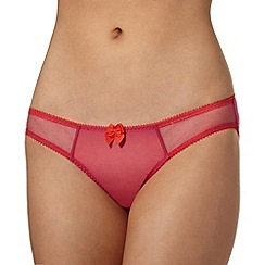 Claudette - Bright pink two tone mesh bikini briefs