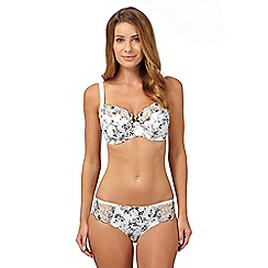 Gorgeous DD+ - Ivory floral embroidered trim DD-J full cup bra