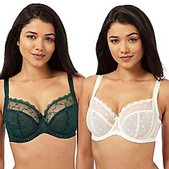Gorgeous DD+ - Pack of two dark green and cream t-shirt bras