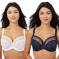 Gorgeous DD+ - Pack of two navy and white lace t-shirt bras