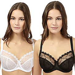 Gorgeous DD+ - Pack of two black and white lace t-shirt bras
