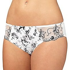 Gorgeous DD+ - Ivory floral embroidered trim bikini briefs