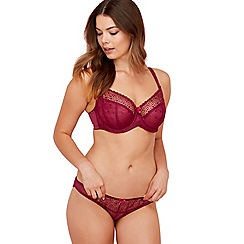 Gorgeous DD+ - Plum embroidered 'Caitlyn' underwired non-padded balcony bra