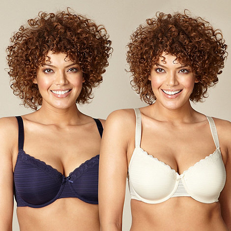 Gorgeous DD+ - Pack of two navy and ivory striped t-shirt bras